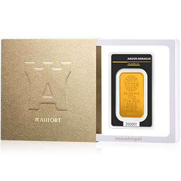 Золотой слиток, 100 г, в подарочной упаковке